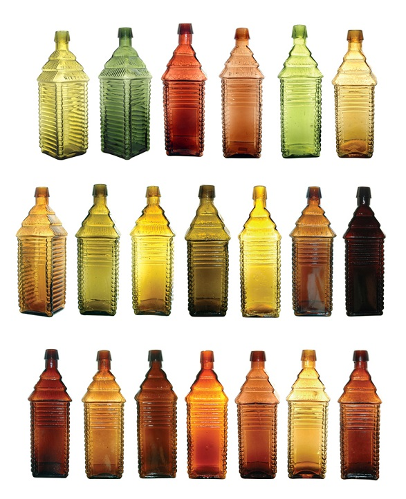 Glass Antiques Antique 19thc French Depose H Pochet Glass Flask Bottle Waffle Cone Pattern Packing Of Nominated Brand